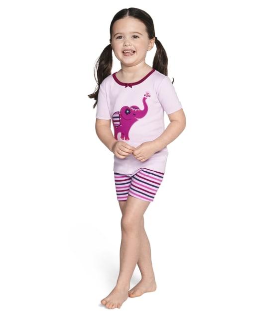 Girls Short Sleeve Elephant And Striped Snug Fit Cotton 2-Piece Pajamas - Gymmies