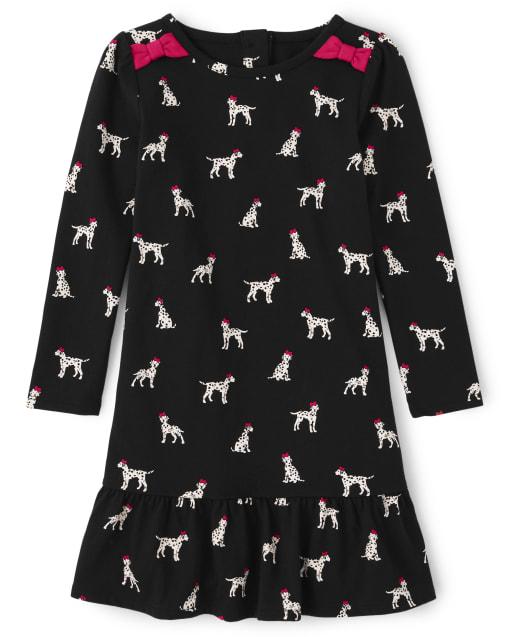 Vestido niña manga larga con estampado de perritos y lazo tejido peplum - Dalmatian Friends