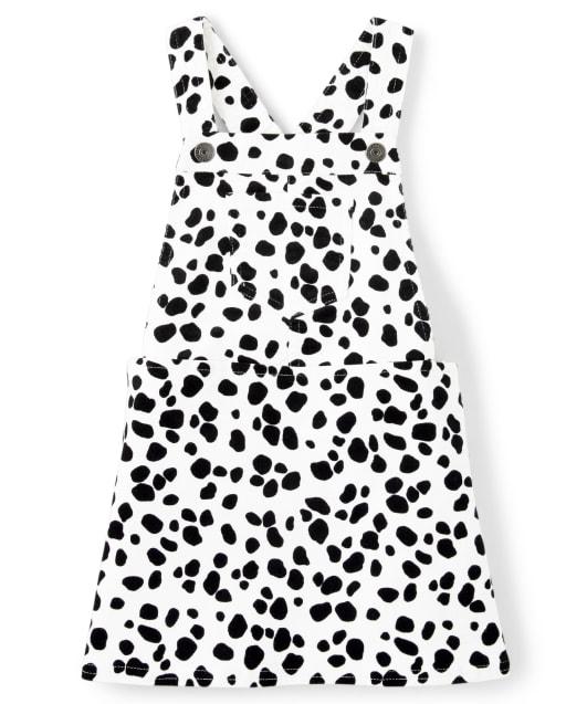 Girls Sleeveless Spotted Print Corduroy Skirtall - Dalmatian Friends