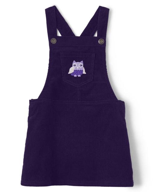 Falda de pana bordada sin mangas con búho para niñas, todo - Whooo ' s Cute