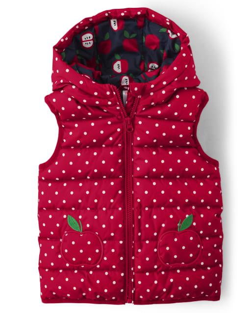 Chaleco acolchado reversible con capucha y estampado de manzanas sin mangas para niñas - Favorito del '