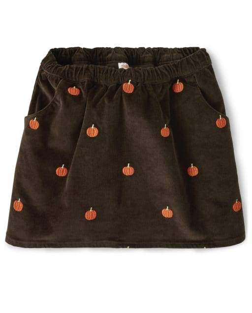 Falda pantalón niña de pana con estampado de calabaza bordada - Lil Pumpkin