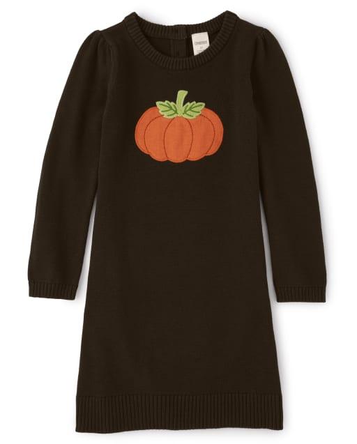 Girls Long Sleeve Embroidered Pumpkin Patch Sweater Dress - Lil Pumpkin