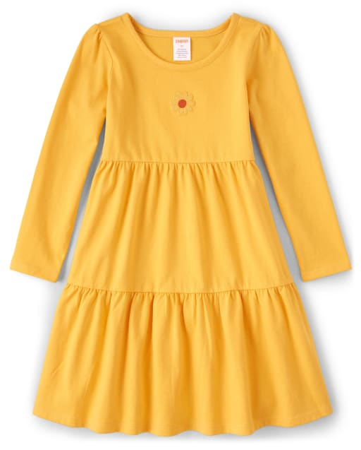 Girls Long Sleeve Embroidered Sunflower Knit Tiered Dress - Harvest