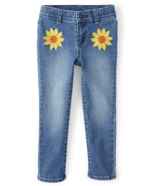 Jeans niña con parche de girasol bordado - Harvest