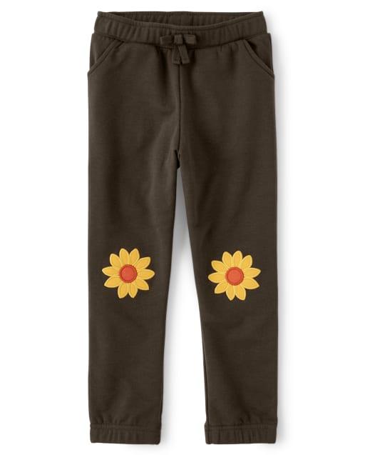 Pantalón jogger de polar con parche de girasol bordado para niñas - Harvest