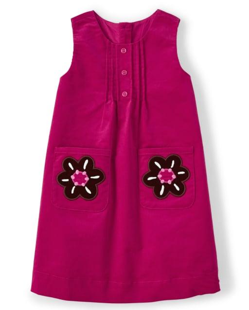 Vestido niña jersey de pana floral bordado sin mangas - Tree House