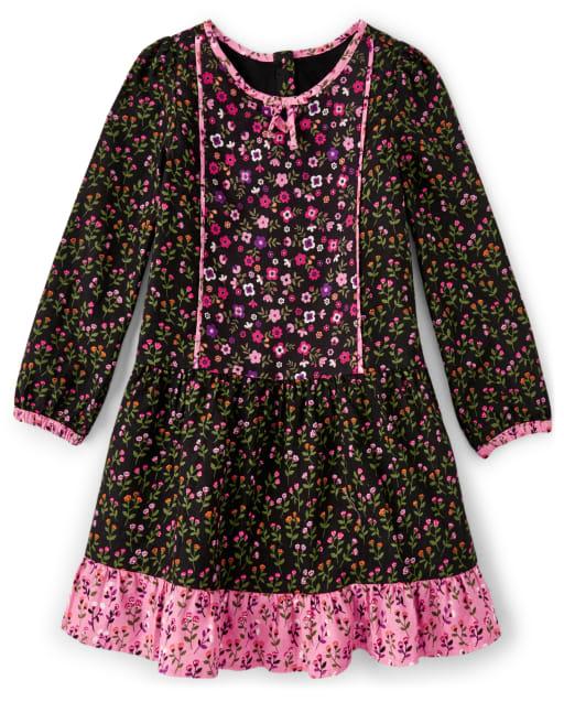 Vestido niña de manga larga con volantes de franela y estampado floral - Tree House