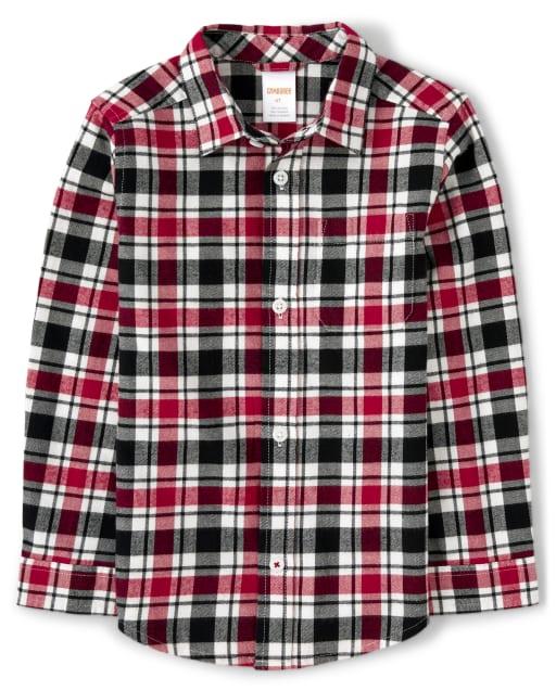 Boys Long Sleeve Plaid Twill Button Up Shirt - Fire Chief