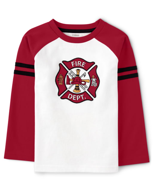 Boys Long Sleeve Embroidered Fire Department And Dalmatian Raglan Top - Fire Chief