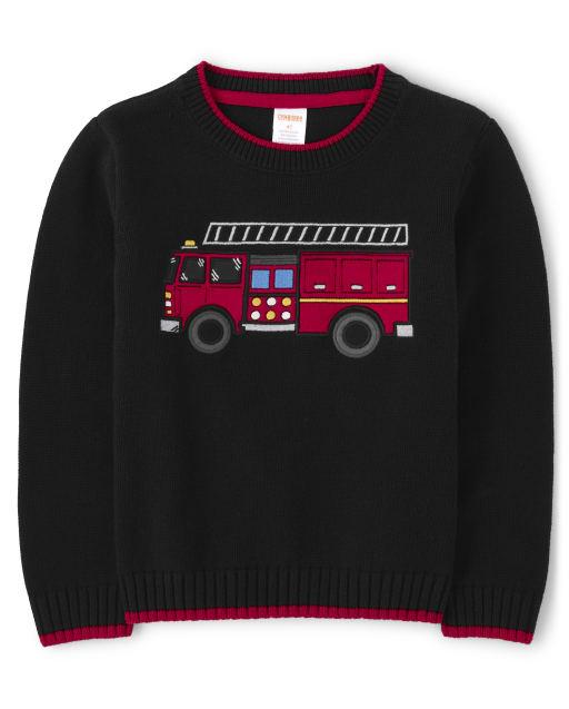 Boys Long Sleeve Intarsia Fire Truck Sweater - Fire Chief