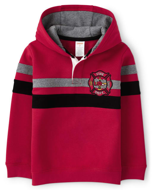 Boys Long Sleeve Embroidered Fire Department Patch And Stripes Fleece Hoodie - Fire Chief
