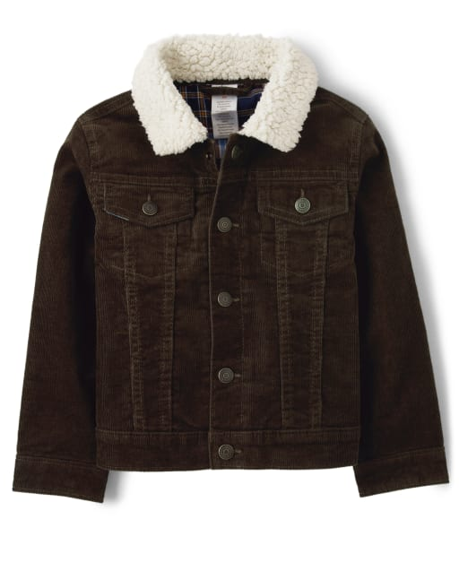 Boys Long Sleeve Sherpa Collar Twill Lined Corduroy Jacket - Western Skies