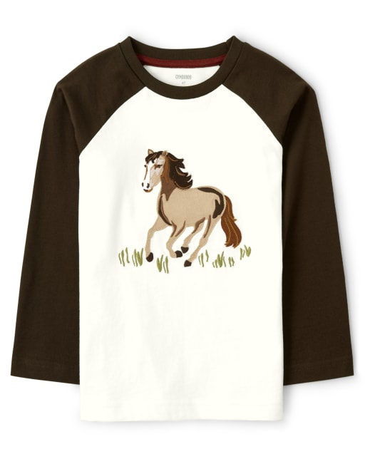 Boys Long Sleeve Embroidered Horse Raglan Top - Western Skies