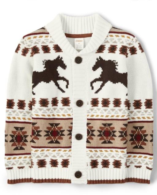 Boys Long Sleeve Horse Print Shawl Neck Cardigan - Western Skies