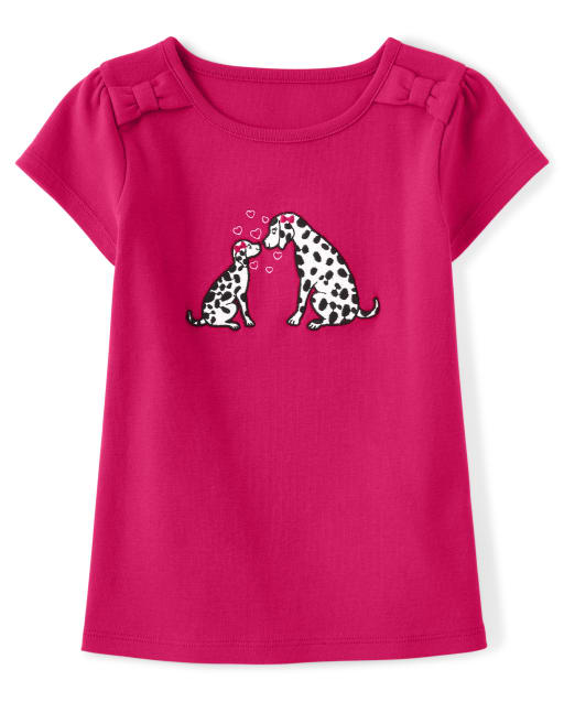 Girls Short Sleeve Embroidered Dalmatian Puppy Bow Top - Dalmatian Friends