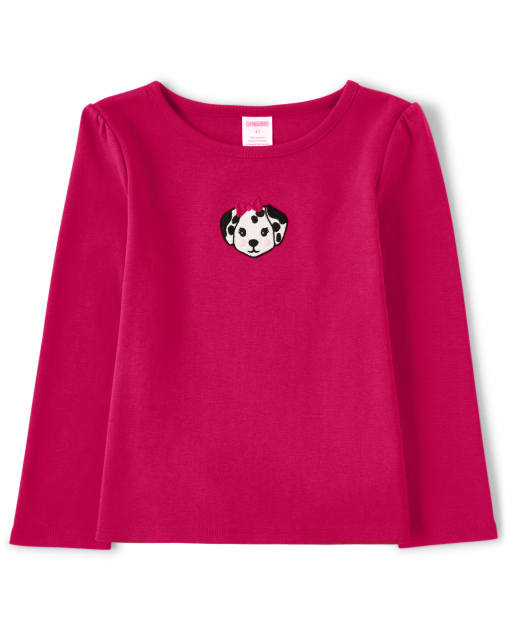 Girls Long Sleeve Embroidered Dalmatian Puppy Top - Dalmatian Friends