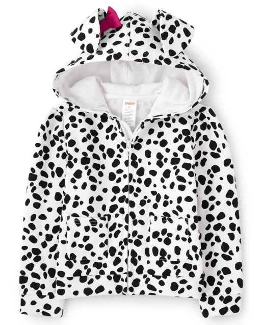 Girls Long Sleeve Spotted Print Puppy Fleece Zip Up Hoodie - Dalmatian Friends