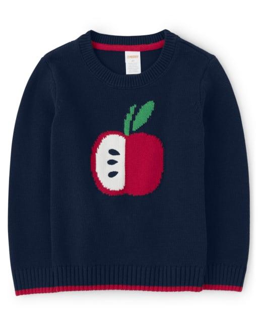 Boys Long Sleeve Intarsia Apple Sweater - Teacher's Favorite