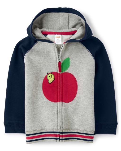 Boys Long Sleeve Embroidered Apple Fleece Zip Up Hoodie - Teacher's Favorite