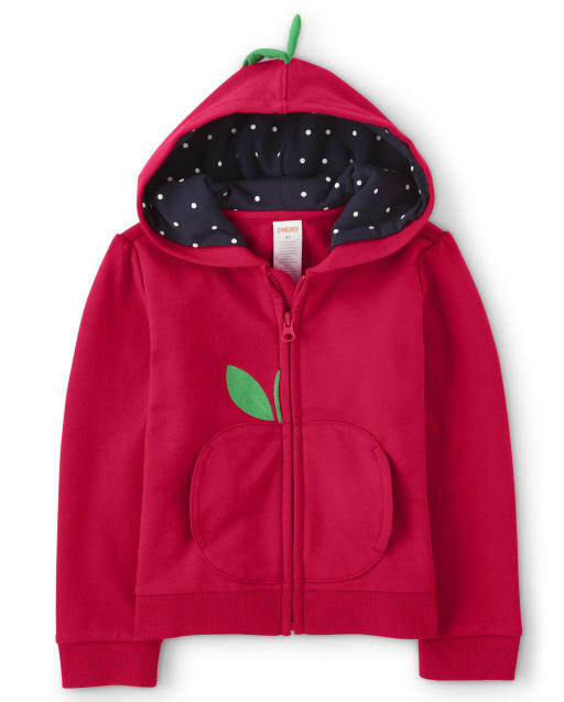 Sudadera con capucha y cremallera de polar de manzana bordada de manga larga para niñas - Favorito del '