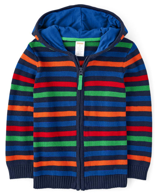 Boys Long Sleeve Striped Hooded Zip Up Sweater - Dino Dude