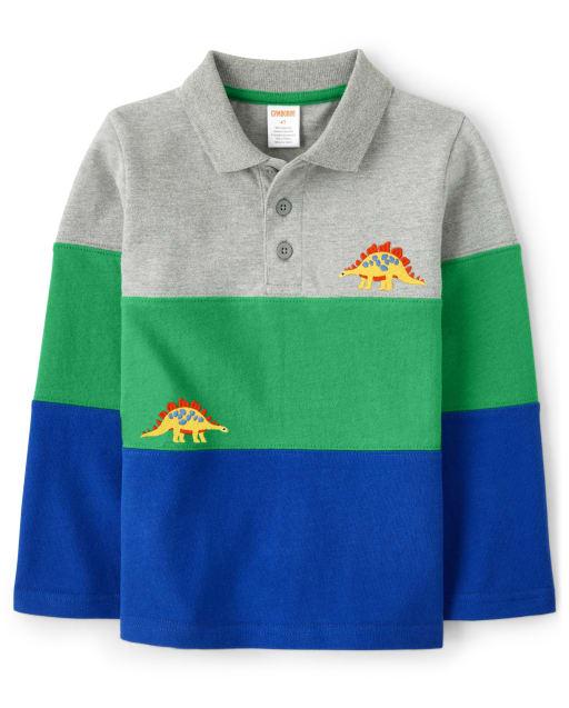 Boys Long Sleeve Embroidered Dino Colorblock Polo - Dino Dude