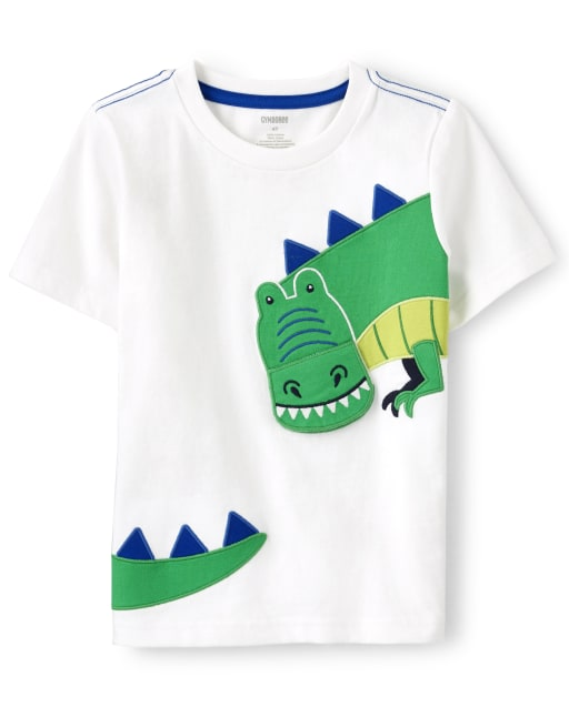 Boys Short Sleeve Embroidered T-Rex Top - Dino Dude