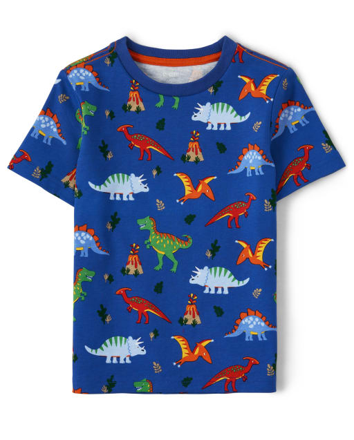 Boys Short Sleeve Dino Print Top - Dino Dude