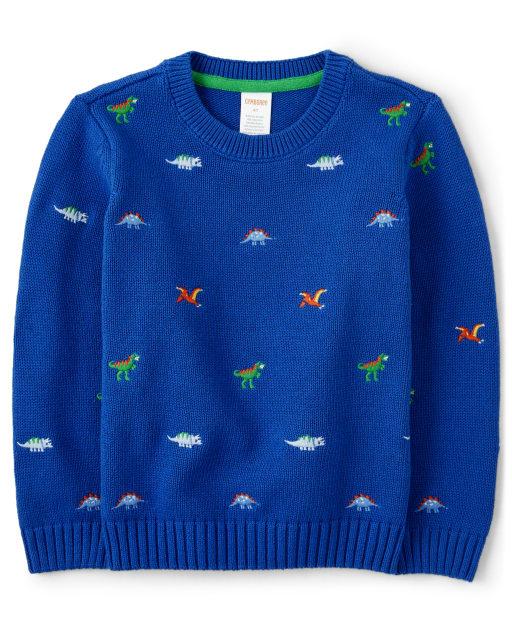 Boys Long Sleeve Embroidered Dino Print Sweater - Dino Dude