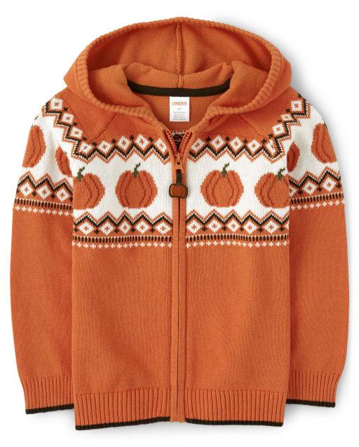 Boys Long Sleeve Pumpkin Zip Up Hooded Sweater - Lil Pumpkin