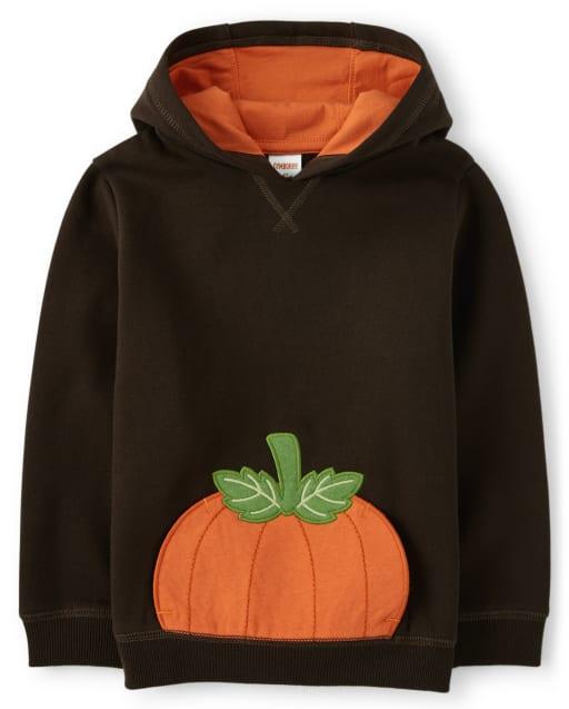 Boys Long Sleeve Pumpkin Fleece Hoodie - Lil Pumpkin