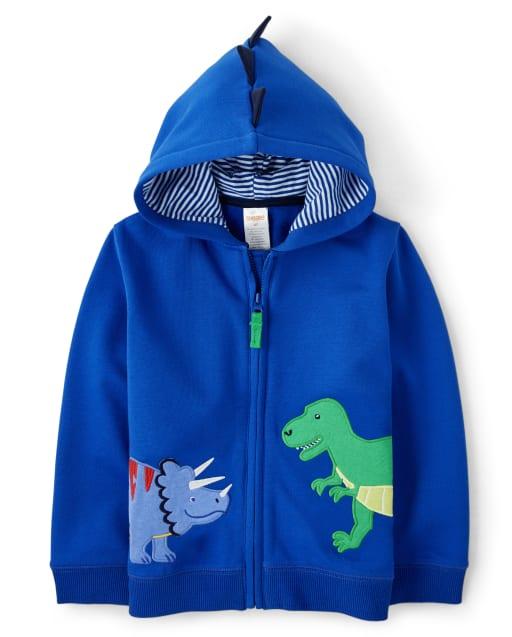 Boys Long Sleeve Embroidered Dino Fleece Zip Up Hoodie - Dino Dude
