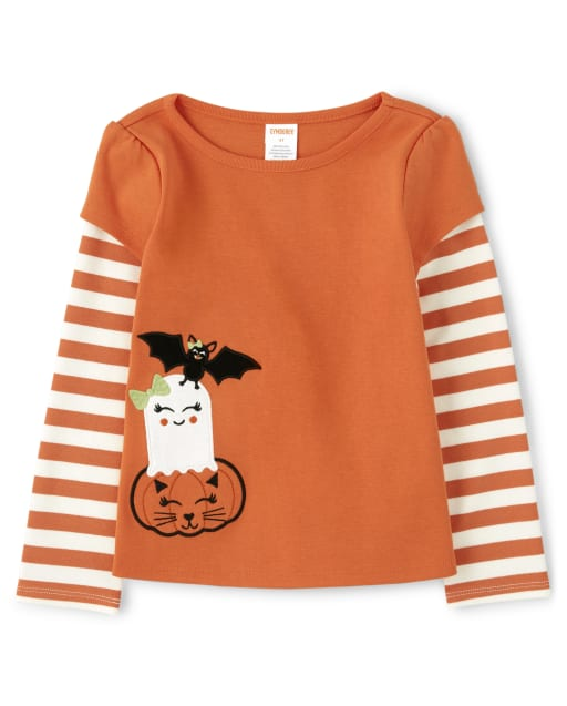 Girls Long Striped Sleeve Embroidered Halloween Layered Top - Lil Pumpkin