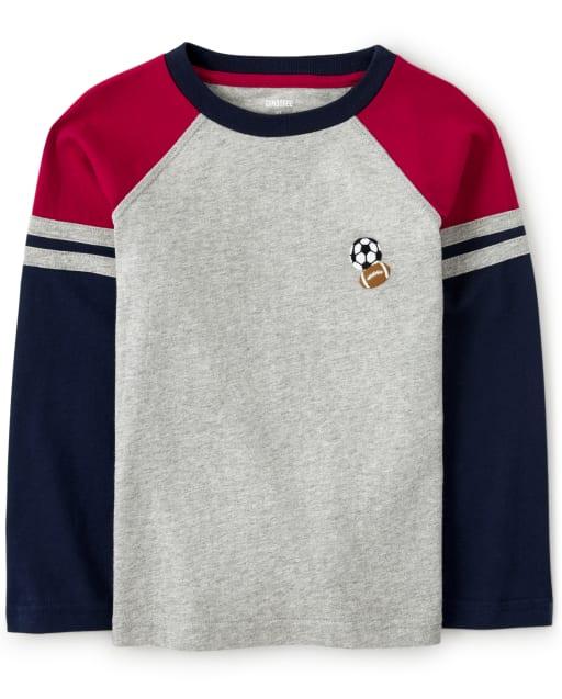 Camiseta deportiva raglán de manga larga bordada para niño - Future MVP