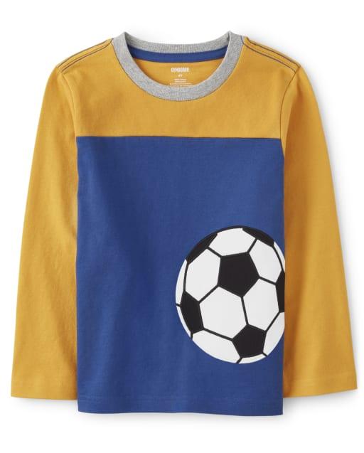 Camiseta de manga larga con balón de fútbol bordado en bloques de color para niños - Future MVP