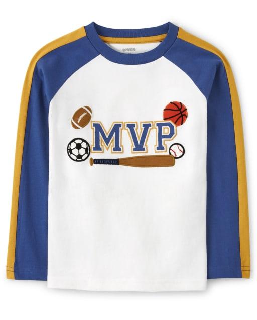 Camiseta deportiva bordada con mangas raglán de rayas largas para niños ' MVP ' - Future MVP