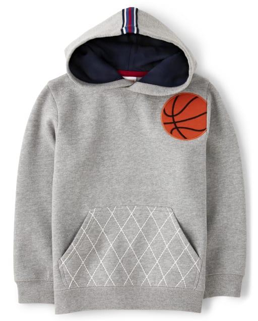 Sudadera con capucha de polar de baloncesto bordada de manga larga para niños - Future MVP
