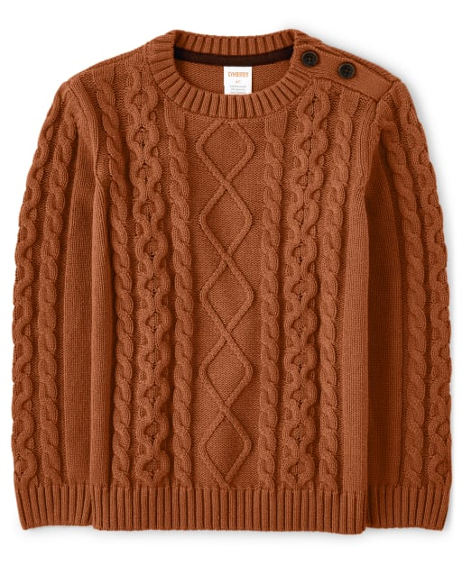 Boys Long Sleeve Cable Knit Sweater - Harvest