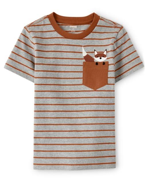 Camiseta con bolsillo a rayas de zorro bordado de manga corta para niño - Harvest