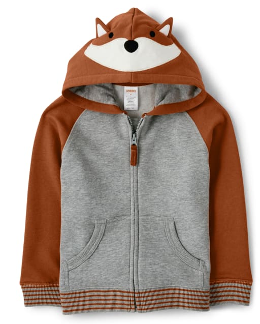 Boys Long Sleeve Fox Fleece Zip Up Hoodie - Harvest