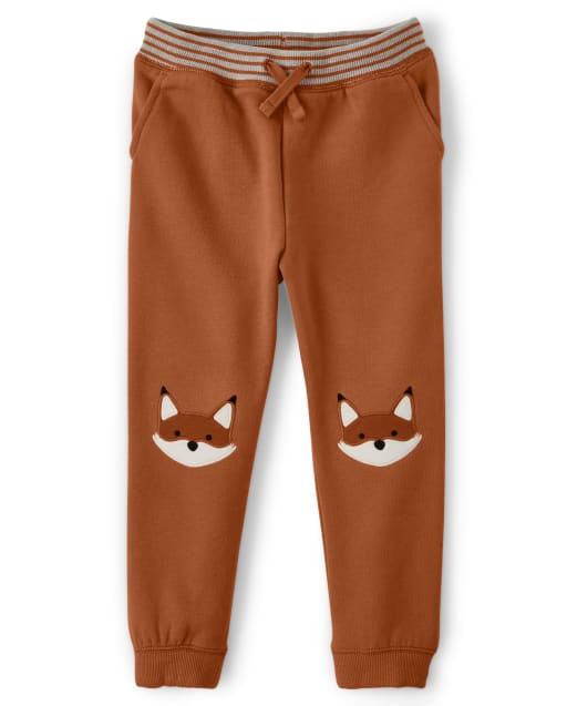 Boys Embroidered Fox Patch Fleece Jogger Pants - Harvest