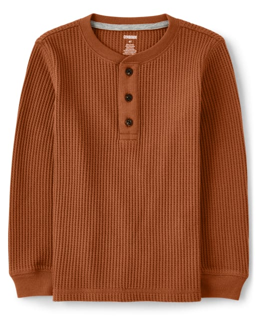 Camiseta henley de manga larga de punto tipo gofre para niño - Harvest
