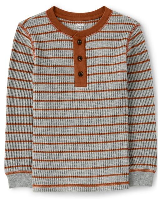 Camiseta henley de manga larga a rayas de punto tipo gofre para niño - Harvest