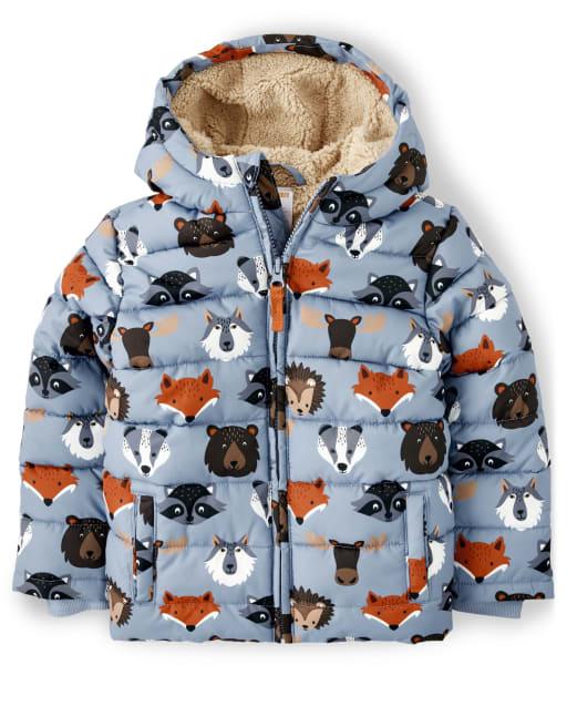 Chaqueta acolchada con forro de sherpa y estampado animal de manga larga para niño - Critter Campout