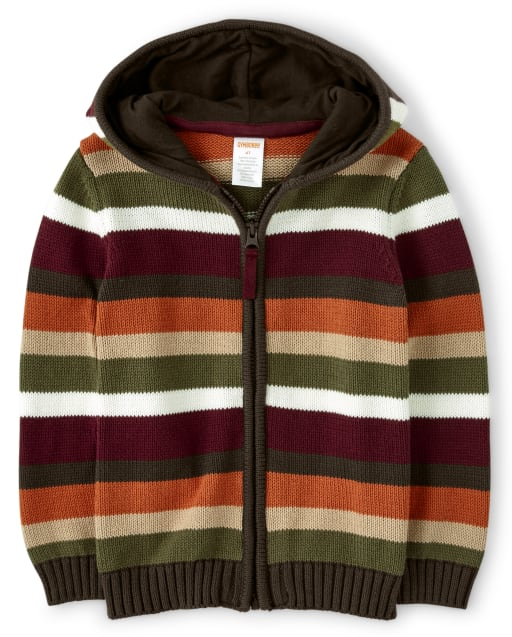Boys Long Sleeve Striped Hooded Zip Up Sweater - Critter Campout