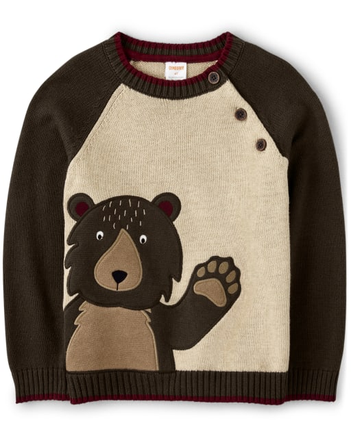 Boys Long Sleeve Embroidered Bear Sweater - Critter Campout