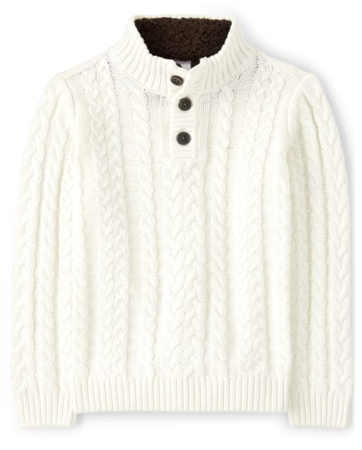 Boys Long Sleeve Sherpa Lined Collar Cable Knit Henley Sweater - Critter Campout