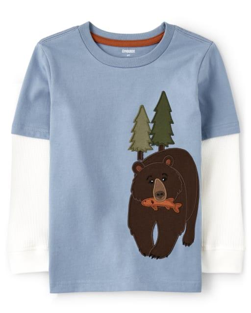 Top a capas de oso bordado de manga larga térmica para niños - Critter Campout