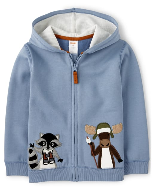 Boys Long Sleeve Embroidered Moose And Raccoon Fleece Zip Up Hoodie - Critter Campout